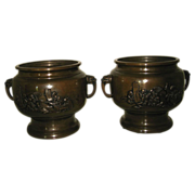 """Pair Late Meiji Japanese Bronze Hibachi with """"Seven Lucky Gods"""""""