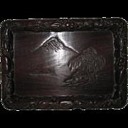 Vintage Japanese Carved Wood Display Tray with Mt. Fuji
