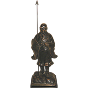 Antique Chinese Bronze Male Figure Holding a Spear