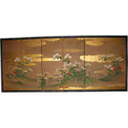 Japanese Floral Rimpa School Six-Panel Folding Screen