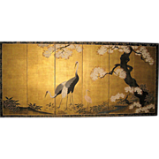 Exquisite Japanese Edo Period Crane Screen