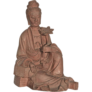 Early Republic Chinese Carved Boxwood Seated Guanyin