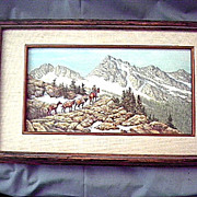 "Vintage Untitled oil on Canvas-Roger Thomas-10-1/2""X17-1/4"" framed- Montana art"