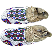Vintage Hand Sewn Native American Sioux Adult size Beaded Moccasins