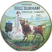"Vintage Bull Durham Advertising Tobacco Tray - 24"" diameter - Rare Find"
