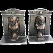 Vintage Bradley & Hubbard, B&H Cast Iron Egyptian Pharaohs Book Ends-circa 1920