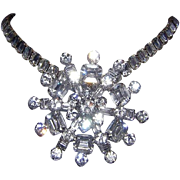 Kramer Of New York Bold Emerald Shape Rhinestones Pin / Brooch