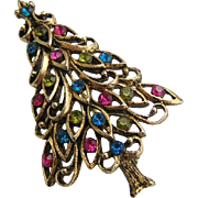 Vintage Superb Colors Rhinestone Christmas Tree Pin