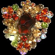 WEISS Book Piece Rhinestone Shades Of Fall Fabulous Pin / Brooch