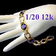 1920's Amethyst Glass 1/20 12K Gold Upscale Designer Signed Bracelet