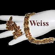 WEISS Tantalizing Taupe Color Rhinestones Bracelet & Earrings
