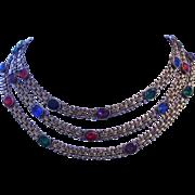 1920's ART DECO Book Chain 3 Strand COLORFUL Open Back Paste Rhinestones Bib Necklace