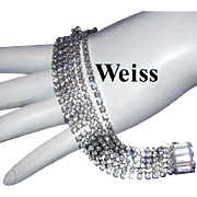 WEISS Seldom Seen 6 Individual Rhinestone Strands Bracelet With Baguettes