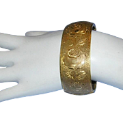1930's VICTORIAN REVIVAL Wide Etched Design Hinged CUFF Bracelet