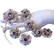 VERY RARE! Designer Signed Red AB Rhinestones Figural Floral BRACELET Pin & Earrings