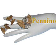 1940's PENNINO High End Pave' & Channel Set Rhinestones & Baguettes Textured Design Pin & Earrings