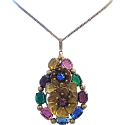 1920's - 1930's ART DECO / NOUVEAU Dazzling Color Rhinestones Highly Detailed Necklace / Pendant