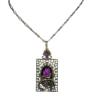 1920's Art Deco / Art Nouveau Snake / Serpent Long Amethyst Glass Detailed Design Necklace