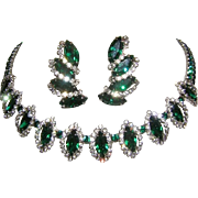 "WEISS Elegant EMERALD Green Marquise & Diamond Rhinestones ""Halo"" Necklace & Earrings"
