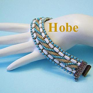 1960's HOBE Quintessential Summer Braided Mesh Turquoise & White Bracelet