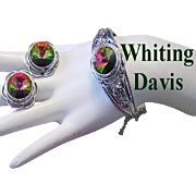 WHITING & DAVIS Mesmerizing Watermelon Rhinestone Ornate Hinged Cuff Bracelet & Earrings
