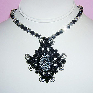 JULIANA SULTRY Hard To Find Black & White Reverse Transfer Pin / Necklace Book Piece
