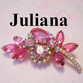 JULIANA Dynamic Shades Of Pink Rhinestones Brooch / Pin