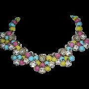 1950's KRAMER Colorful Glass, Rhinestones & Dangling Baubles Fabulous Necklace