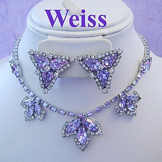 WEISS Color Changing Periwinkle /LAVENDER Rhinestone Rarely Seen Decadent SHOW STOPPING Necklace & Earrings