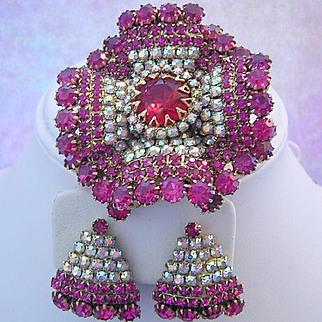 RUFFLED Radiant Breathtaking Color Rhinestones DESIGNER Pin & Earrings