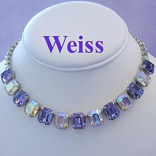 WEISS Wonderful IOLITE / Purple Color Emerald Shape Rhinestones Necklace