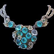 1920's Art Deco / Nouveau BOLD Aquamarine & Rhinestones Double Chain Festoon Necklace