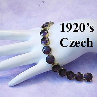 1920's Signed CZECH Deep Purple / Amethyst Open Back Large Rhinestones Tennis Bracelet