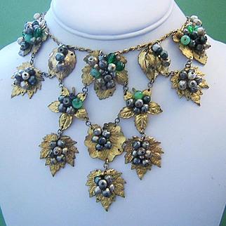 1920's - 1930's ART DECO / ART NOUVEAU Fabulous Detailed Majestic Bold Bib Necklace