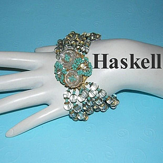 MIRIAM HASKELL Magnificent Vintage SIGNED 6 Strand Glass & Rhinestone Bracelet