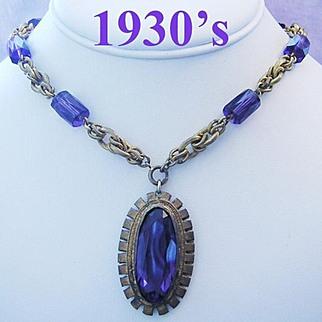 1930's ART DECO Bold Beautiful PURPLE Rhinestone & Barrel Crystal Long Necklace