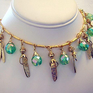 1960's Sizzling Peridot Crystals & Textured Dangling Fringe Necklace