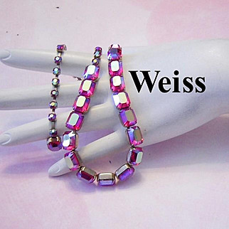 WEISS Superb RASPBERRY Rectangle AB Rhinestones Fabulous Necklace