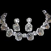 1960's RUNWAY Huge Brilliant BOLD Oval Headlight Rhinestones Glitz & Glamour Necklace & Dangle Earrings