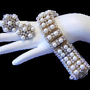 1960's IMPRESSIVE Bold High End Rhinestones & Lustrous Faux Pearl Runway Bracelet & Earrings