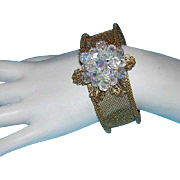 1960's Mesh And Crystal Commanding CUFF Bracelet
