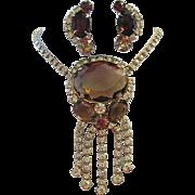 1960's Captivating Bold Maize & Cognac Rhinestone Runway Necklace + Earrings