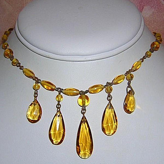 1920's Signed CZECH Art Deco Dangling Glass Drops Fringe Necklace