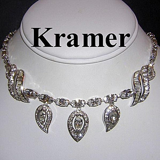 KRAMER High End Decadent Diamond Look Rhinestones Remarkable Necklace