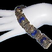 1960's CHINESE EXPORT Lapis Ornate Bracelet