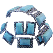 1940's / 50's BOLD Ornate Turquoise Bracelet Necklace & Earrings Statement Parure