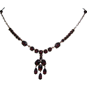 1930's Bohemian GARNET Dangling Necklace