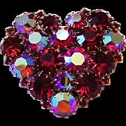 1960's Karu Arke RED & Red AB Rhinestones HEART Pin / Brooch