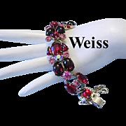 WEISS Ravishing RED & Pink Rhinestones & Garnet RED Glass Cabochons Bracelet