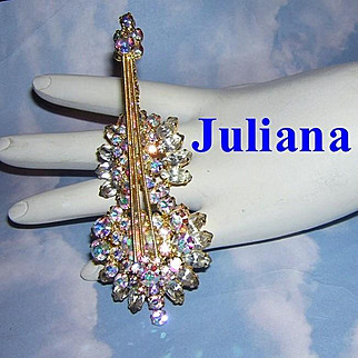 JULIANA 4 Inch Shimmering Rhinestones CELLO / BASS  Musical Instrument Figural Pin Book Piece